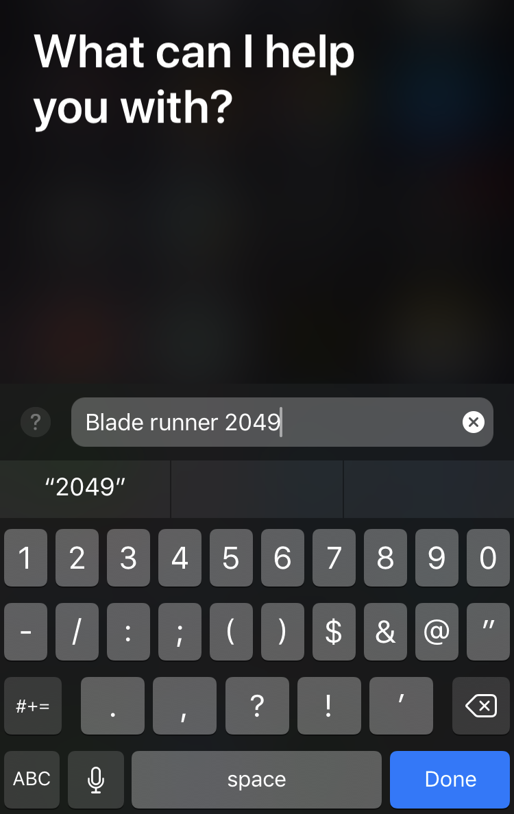 Type to Siri text query
