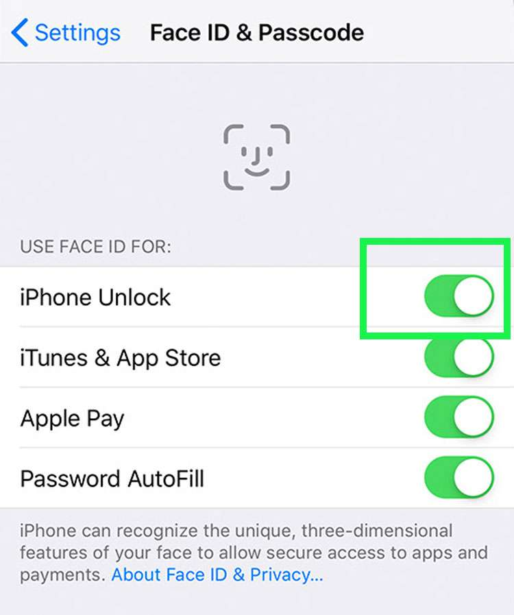 Turn off Face ID
