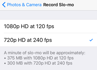 How can I enable 240 fps slow motion video recording on the