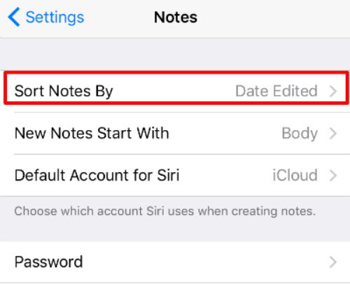 Sort Notes iOS 9.3