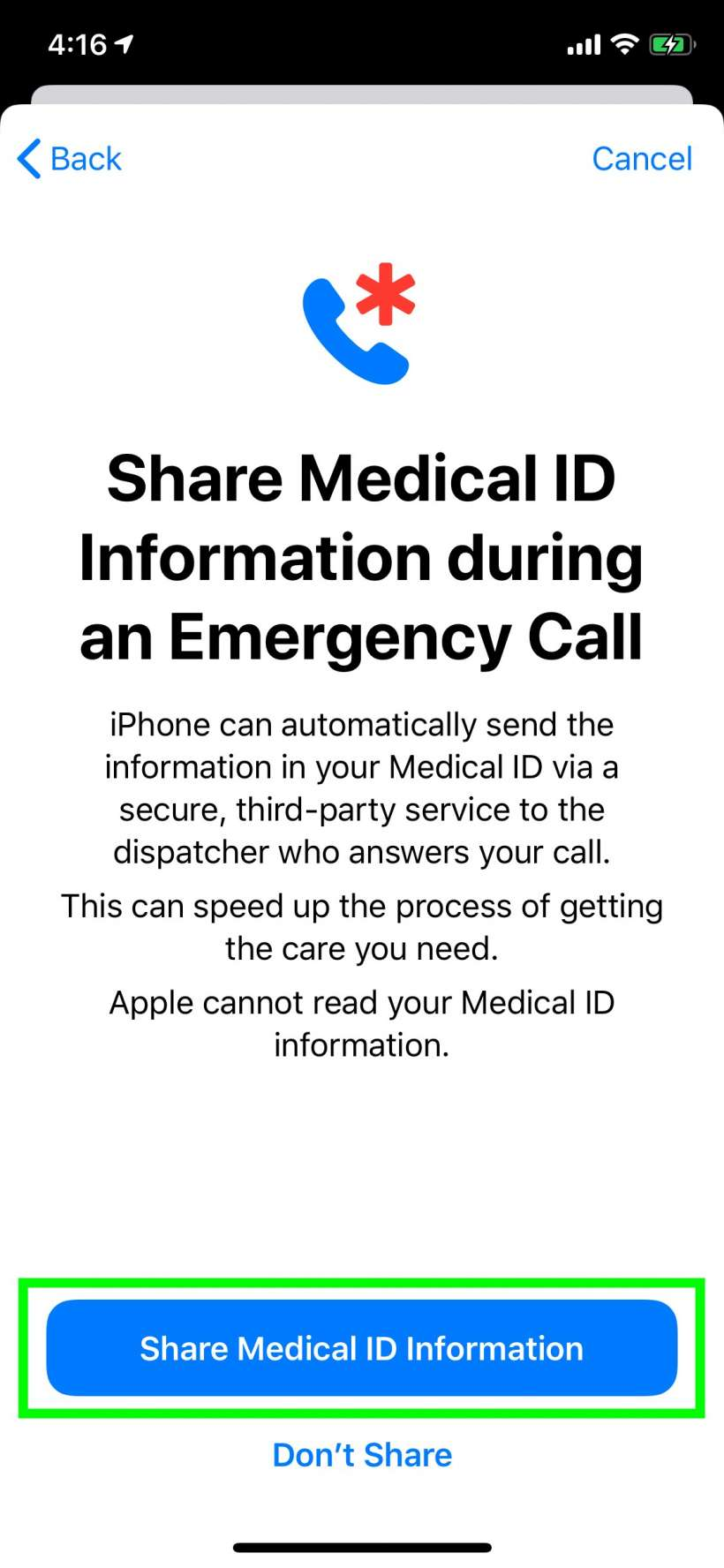 How to automatically share your Medical ID if you make an emergency call from iPhone and iPad.