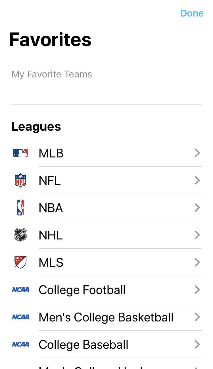 TV app Sports favorites