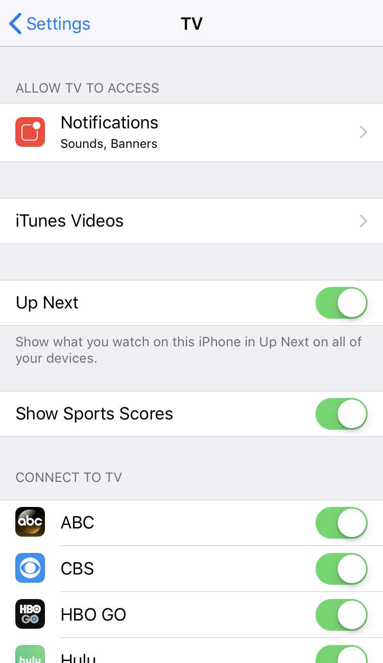 TV app Sports settings