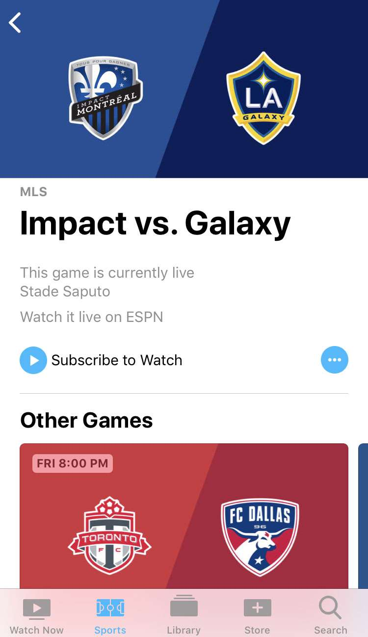 TV app Sports subscriptions