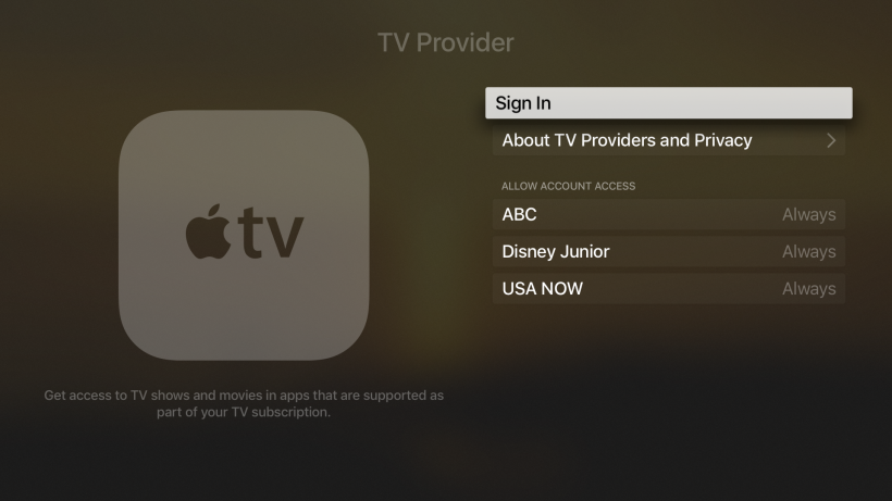 Single Sign-On Apple tvOS