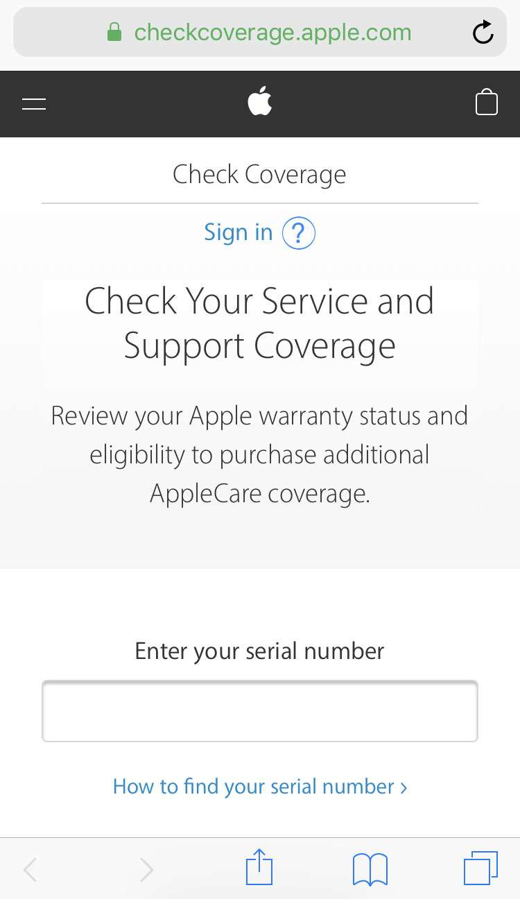 iPhone AppleCare status 1