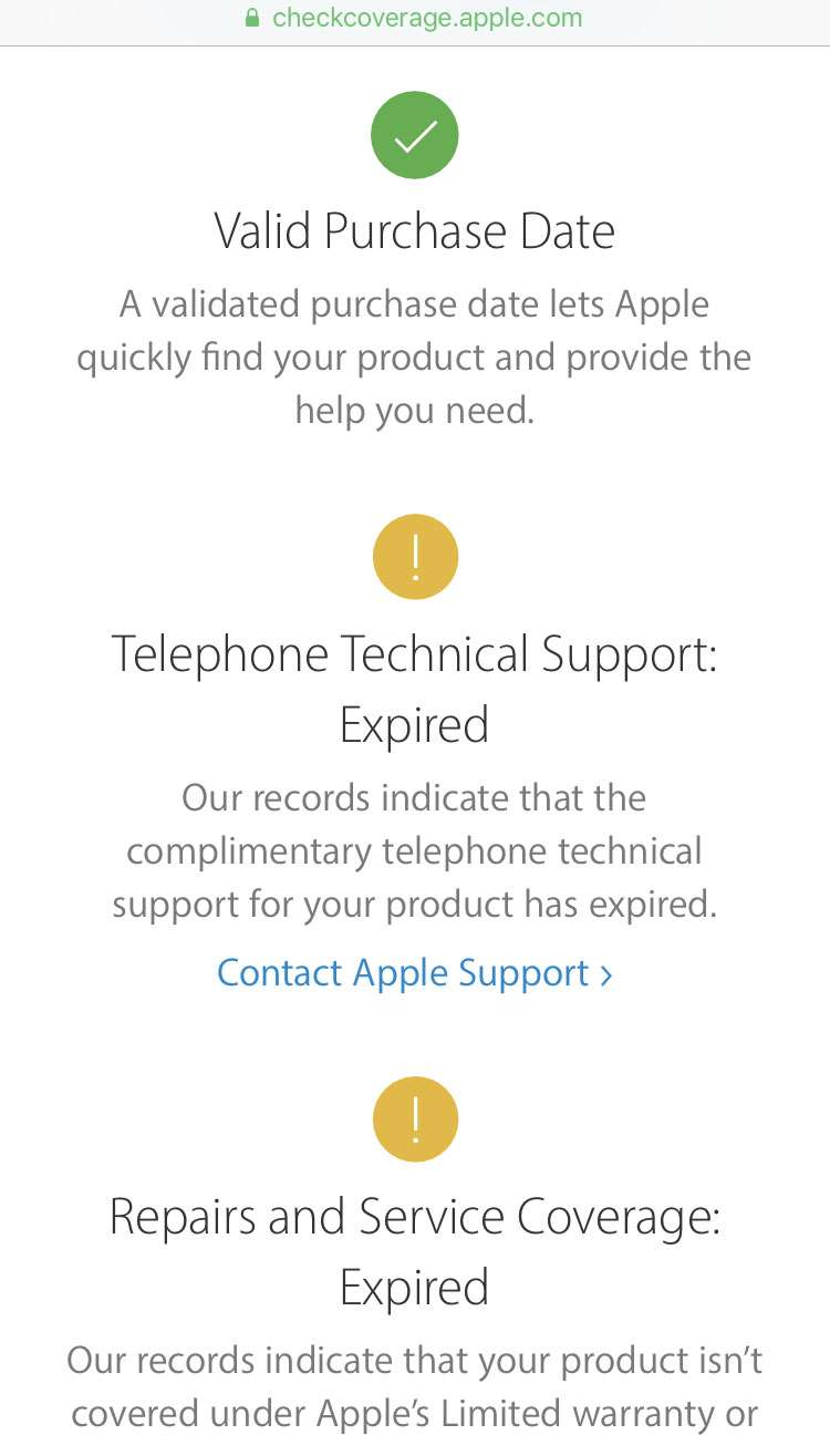 iPhone AppleCare status 4