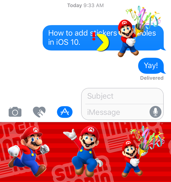 Add Stickers to Message Bubbles