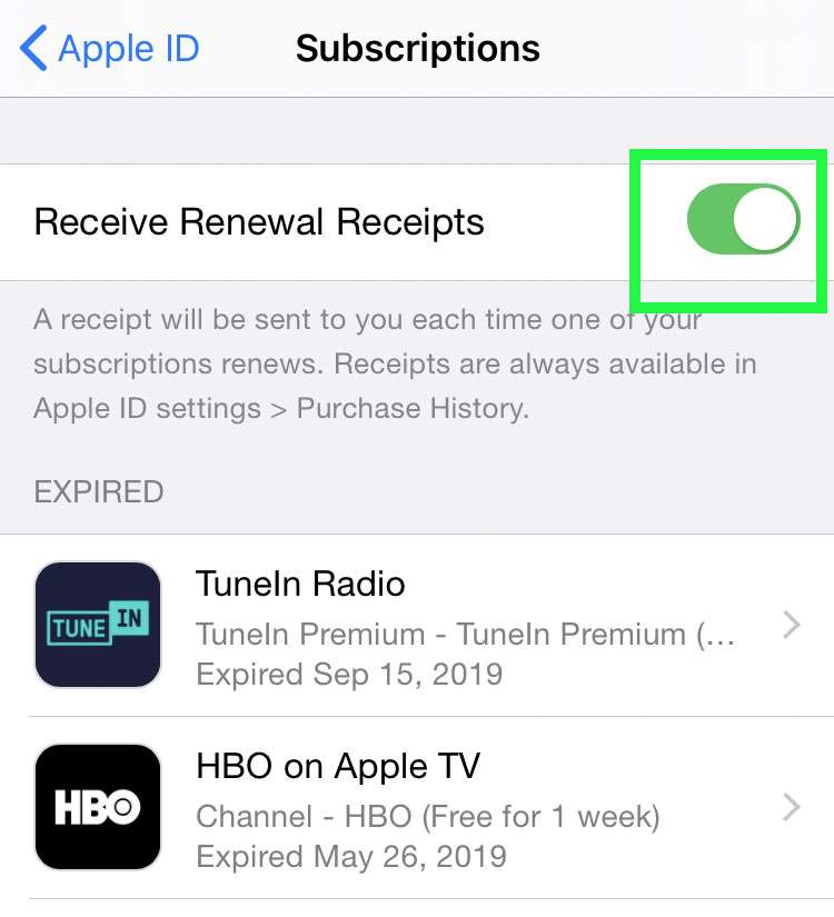 Toggle Apple subscription emails 3