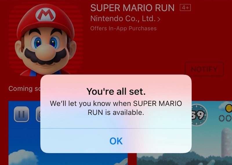 Super Mario Run Notify