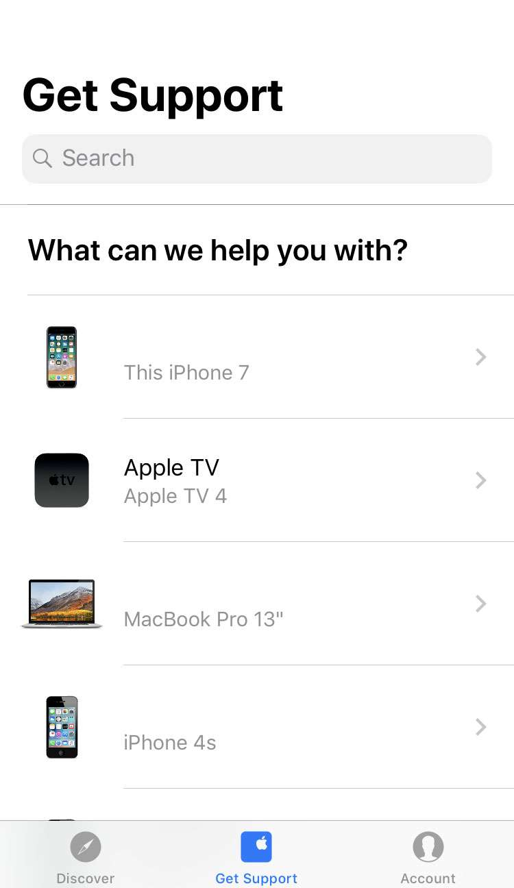 Apple Support app 3 iPhone iOS