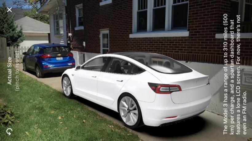 Tesla Model 3 in Quartz iOS app AR