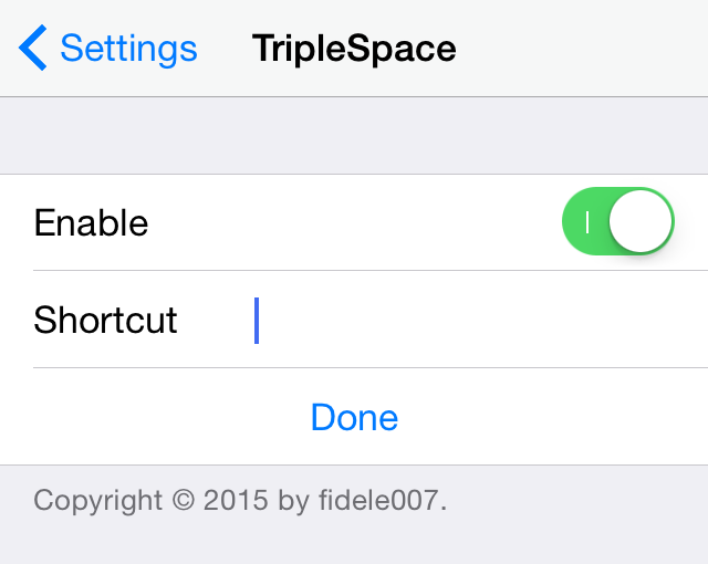 TripleSpace shortcut iOS