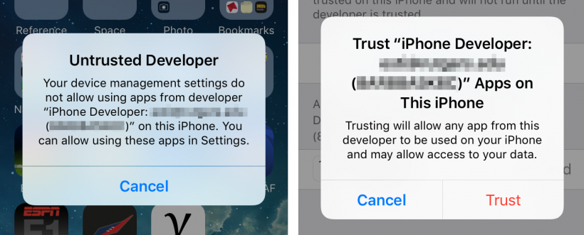 how to fix untrusted developer on iphone