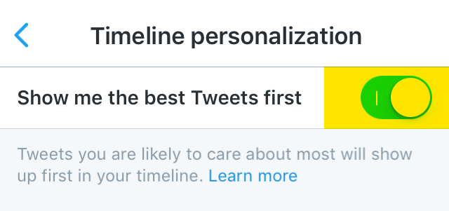 Turn off Twitter timeline personalization