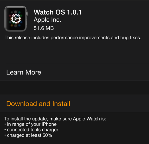 update Apple Watch software