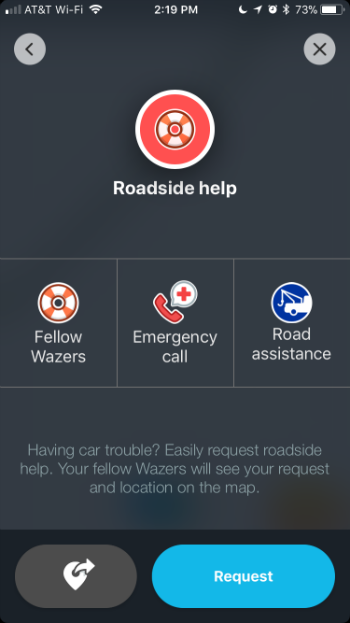 How to request roadside assistance with Waze on iPhone.