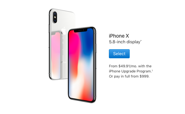 iPhone X select