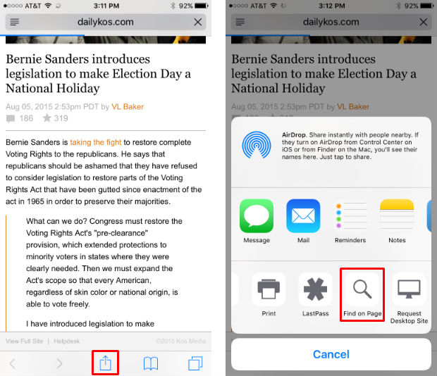 iOS 9 adds text search to Safari to search web pages.