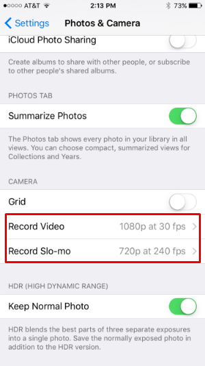 How to change the video recording resolution on iPhone 6s.