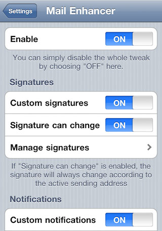 Cydia tweaks Mail improvement Mail Enhancer Settings