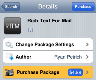 Cydia tweaks Mail improvement Rich Text For Mail