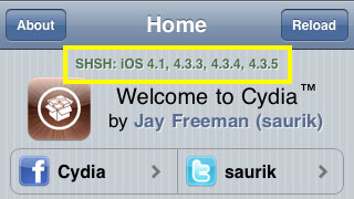 SHSH blobs saved to Cydia