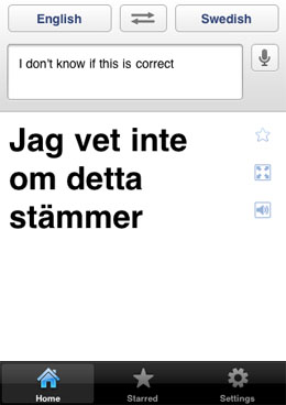 Google Translate iOS app speaks