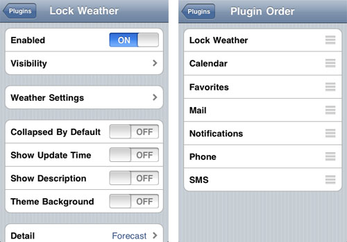 LockInfo Weather Addons settings
