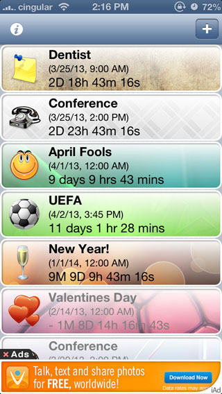 Reminder and Countdown Free iPhone app screen1