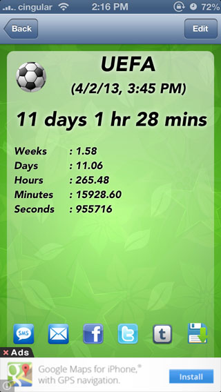Reminder and Countdown Free iPhone app screen2