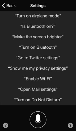 Settings help Siri