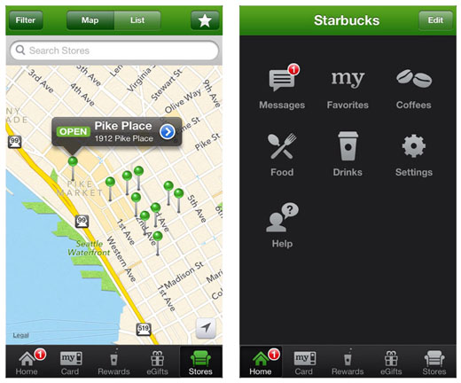 iPhone starbucks app