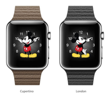 Apple Watch second hands (Mickey's foot in this case) will be in synch worldwide.