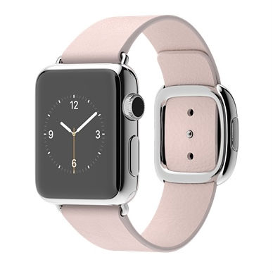 The 38mm Apple Watch with a soft pink band and modern buckle won't ship until July.