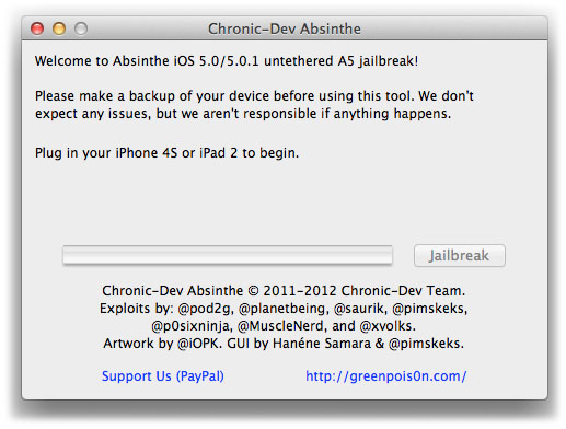 Chronic Dev Team Absinthe jailbreak