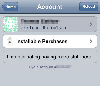Cydia account number