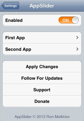 AppSlider tweak settings