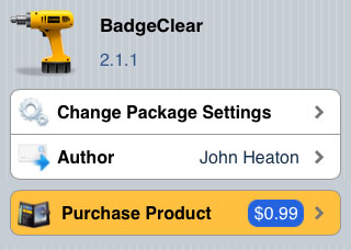 BadgeClear tweak Cydia