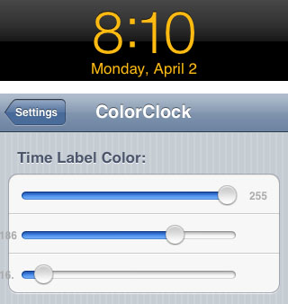 ClockColor iPhone tweak