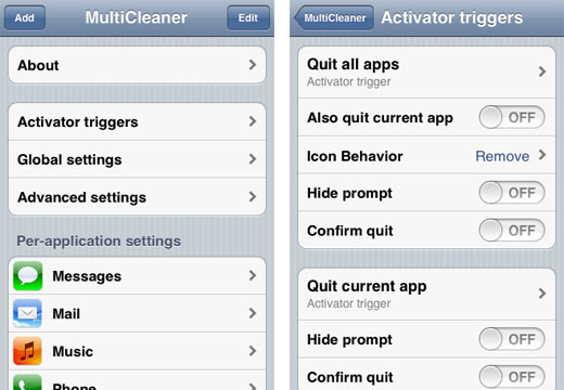 Customize multitasking iPhone dock MultiCleaner
