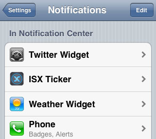 Cydia Twitter Widget iOS 6 set