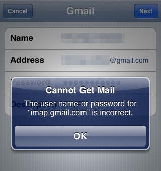 iphone gmail wrong password