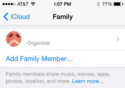 Add Family Member Family Sharing