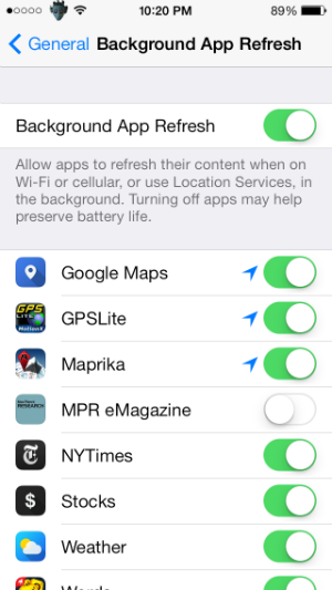 How to turn off background app refresh