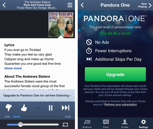 Pandora One compared to Pandora free