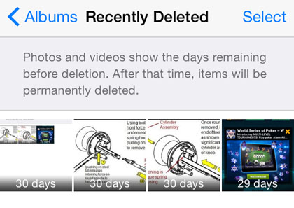 iOS 8 Recently Deleted album RECOVER