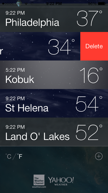 How to remove a city from the iOS 7 weather app