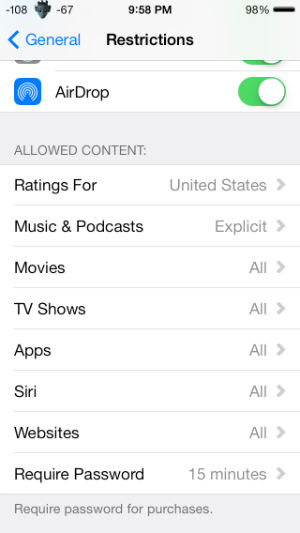 How do I restrict web content in iOS 7