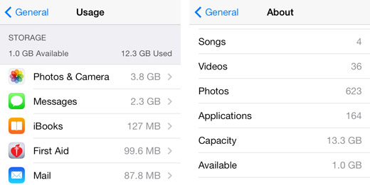 disk space iPhone